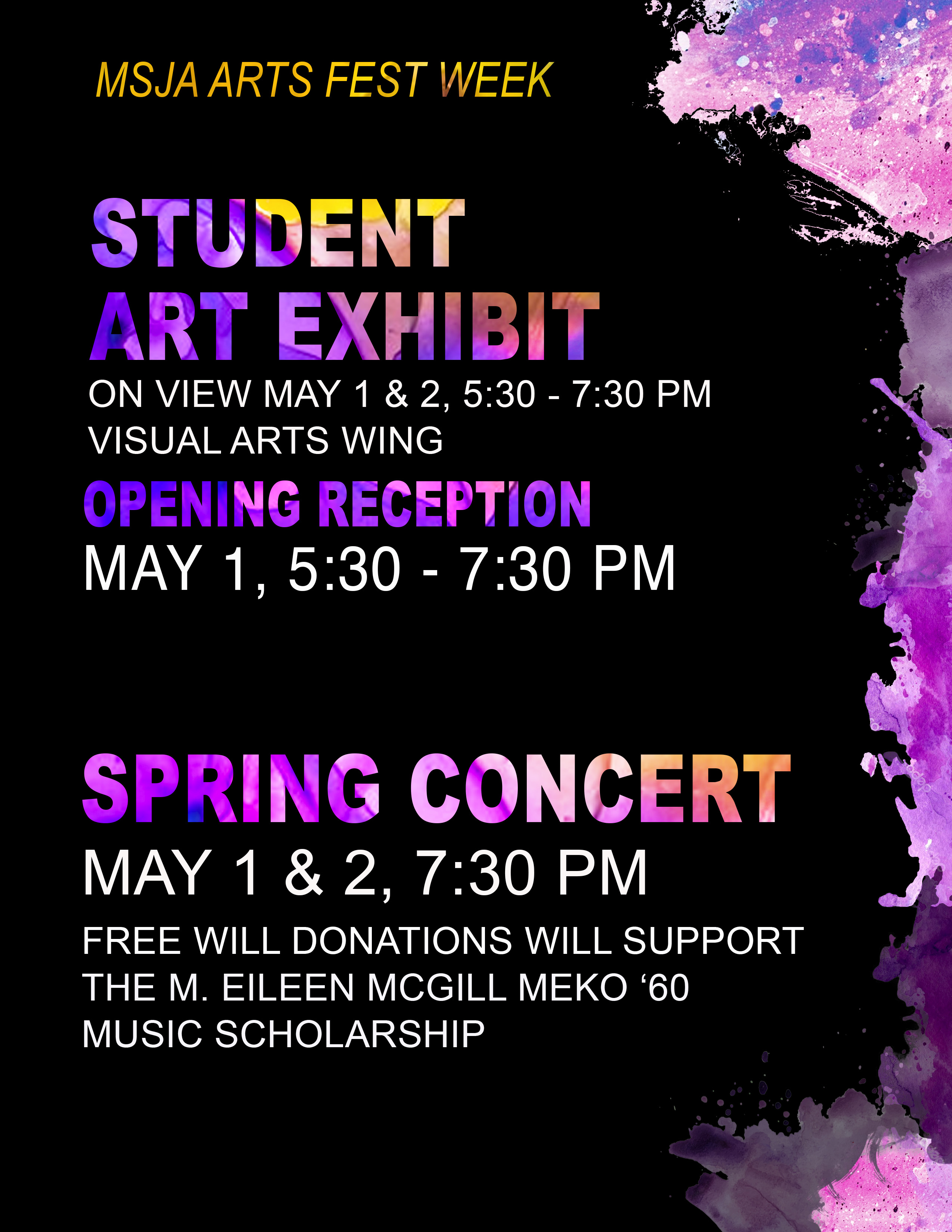 Spring Arts Festival: May 1-2